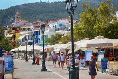 Skiathos, Greece - August 17, 2017: People, tourist walking and Stock Images