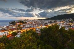 Skiathos island. Evening view of Skiathos town and its harbor, Greece stock photo