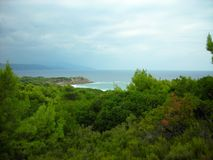Skiathos island, Greece, on a cloudy day in early autumn Royalty Free Stock Images