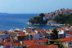 Skiathos port and city, Greece. Skiathos Island is located in the northern part of Sporades islands group. The main towns are the Town of Skiathos (pop. 4,988 in Royalty Free Stock Image