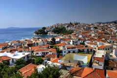 Skiathos port and city, Greece. Skiathos Island is located in the northern part of Sporades islands group. The main towns are the Town of Skiathos (pop. 4,988 in Stock Image