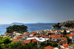 Skiathos port and city, Greece Stock Image