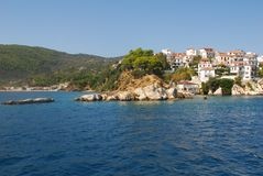 Skiathos-Stadt auf Skiathos-Insel, Griechenland Stockbild