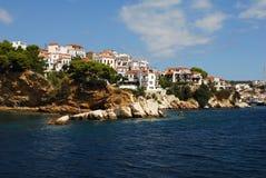 Skiathos-Stadt auf Skiathos-Insel, Griechenland Stockbilder