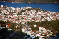 Skiathos town. View from Hill at skiathos Town stock images