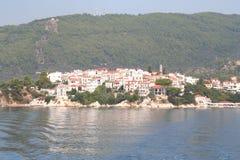 Skiathos town Arkivfoto