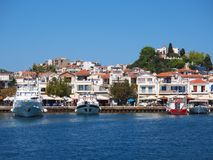 Skiathos Town, Aegean Greek Island, Boats Moored at Dock Royalty Free Stock Photos