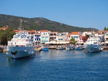 Skiathos Town, Aegean Greek Island, Boats Moored at Dock Stock Images