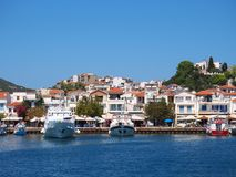 Skiathos Town, Aegean Greek Island, Boats Moored at Dock Royalty Free Stock Photography