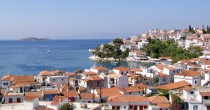Skiathos Town in Greece. Landscape of the city of Skiathos, on the island of Skiathos in the Sporades archipelago. The city is located on a hill overlooking the stock images