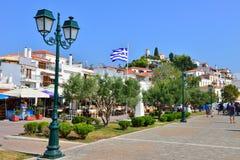Skiathos Town Greece. Old port at skiathos town Greece stock photos