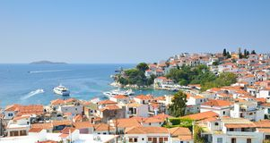 Skiathos Town Greece. Old port at skiathos town Greece royalty free stock photo