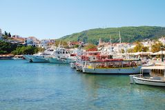 Skiathos Town harbour, Greece Royalty Free Stock Photos