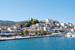 Skiathos Town harbour, Greece Royalty Free Stock Images