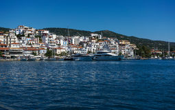 Skiathos town and harbour Stock Images
