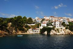 Skiathos town. On Skiathos Island, Greece. Beautiful view of the old town with boats in the harbor royalty free stock photo