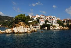 Skiathos town. On Skiathos Island, Greece. Beautiful view of the old town with boats in the harbor royalty free stock photography