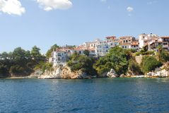 Skiathos town. On Skiathos Island, Greece. Beautiful view of the old town with boats in the harbor stock photography
