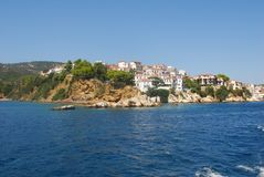 Skiathos town. On Skiathos Island, Greece. Beautiful view of the old town with boats in the harbor royalty free stock images