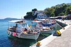 Skiathos Townhamn, Grekland Fotografering för Bildbyråer