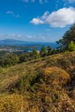 Skiathos view from a hill. Aerial view of Skiathos from a hill, Greece 2018 stock photo