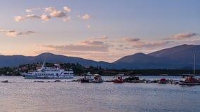 Skiatos Island Boat Trip On Aegean Sea In The Sunset, Greece Stock Photography