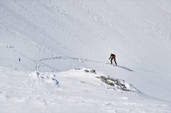 Skibergbeklimmer in Fagaras-bergen Royalty-vrije Stock Afbeeldingen