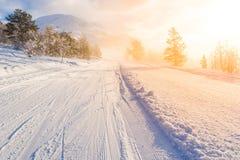 Skicentrum stryn bij zonsopgang, Noorwegen Royalty-vrije Stock Fotografie