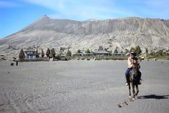 Skicklig ryttare på det Bromo Tengger berget Indonesien Royaltyfri Bild