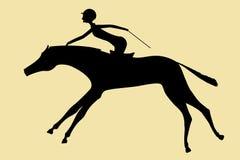 Skickliga ryttarinnan hoppar over på en häst Vektor Illustrationer