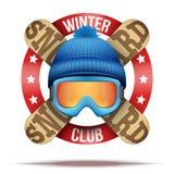 Skiclub of teamkentekens en etiketten Royalty-vrije Stock Foto's