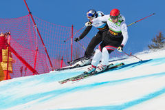 Skicross racer Wordcup in Switzerland Stock Photos
