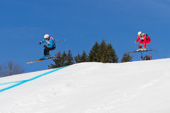 Skicross racer Wordcup in Switzerland Royalty Free Stock Photo