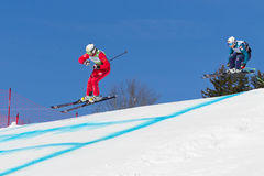 Skicross racer Wordcup in Switzerland Royalty Free Stock Images