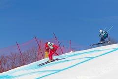 Skicross racer Wordcup in Switzerland Stock Photo