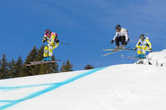 Skicross racer Wordcup in Switzerland Stock Image