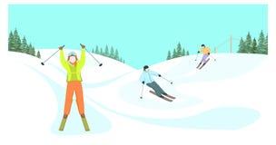 Skidåkare stiger ned från bergen royaltyfri illustrationer