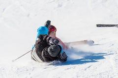 Skidåkareskidåkning på Deogyusan Ski Resort Royaltyfria Foton