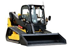Skid loader or bobcat construction equipment. Isolated over white background Stock Photos