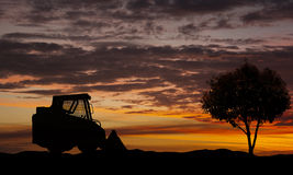 Skid loader and a single tree Stock Image