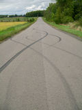 Skid marks on road Royalty Free Stock Image