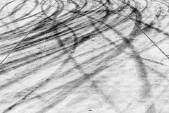 Skid marks on road surface Stock Photos