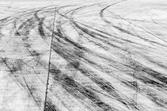 Skid marks on road surface Royalty Free Stock Image