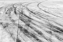 Skid marks on road surface Royalty Free Stock Images