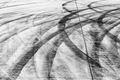 Skid marks on road surface Stock Images