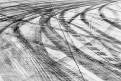 Skid marks on road surface Stock Photo
