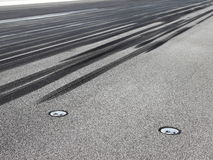Skid marks on runway. In touchdown point Stock Image