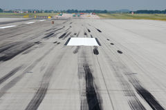 Skid marks on runway Royalty Free Stock Photos