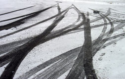 Skid Marks in Snow. Tire Tracks and Skid Marks in Ice and Snow royalty free stock image
