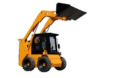 Skid steer loader (isolated). Skid steer loader with full raised bucket over white Royalty Free Stock Photography